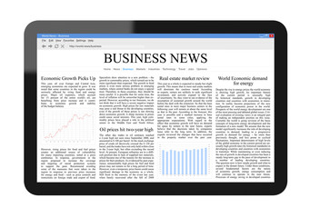 Business News on Tablet PC with Clipping path