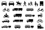Fototapety Sinnbilder Icons Straßenverkehr PKW LKW Motorrad Kinder