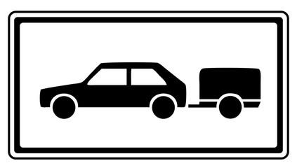 Zusatzzeichen Auto PKW mit Anhänger Führerscheinklasse BE