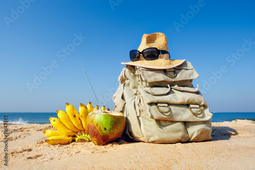 Knapsack on the beach