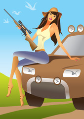 huntress sitting on an offroad car - vector illustration