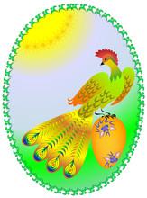Ozdobny paw z ogonem jak wentylatora, siedzi na jajka wielkanocne