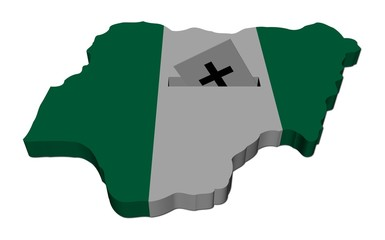 Nigeria election map with ballot paper illustration