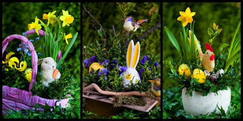 Easter compositions with flowers and animals set