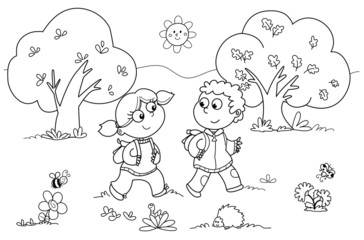 Bambini che passeggiano nella natura