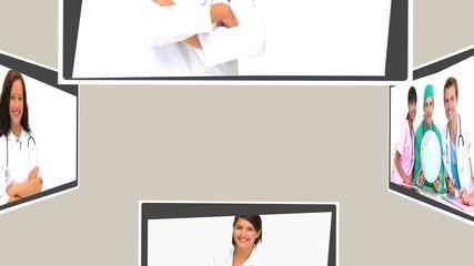 Montage of nurses, doctors, and surgeons