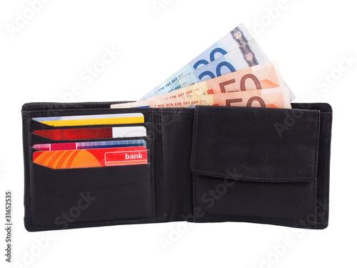 Portemonnaie mit Bargeld und Karten