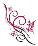 Ranke, Blumen. Tribal, Tattoo, Kirschblüten, Schmetterling