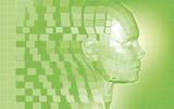 Futuristic avatar  polygon mesh background poster