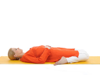 series or yoga photos. young woman in subtavirasana pose on yell