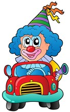 Cartoon Klaun jazdy samochodem