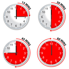red timer 15 30 45 and 60 minutes isolated on white background