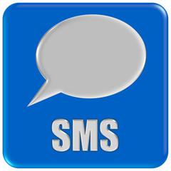 Button blau quadratisch mit Sprechblase SMS