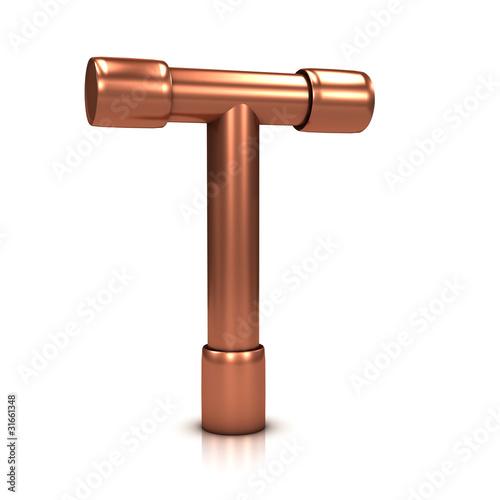 3d Copper tubing letter - T