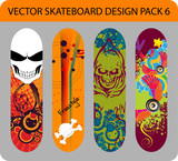 Grunge vector skateboard design pack with skulls