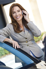 Portrait of Beautiful Woman or Businesswoman On Cell Phone