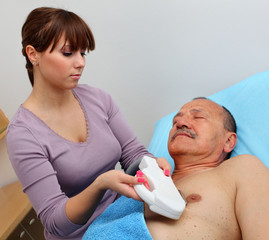 Laser hair removal on men chest.
