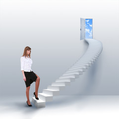 young girl climbs the ladder of success