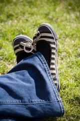cute striped woman flats shoes