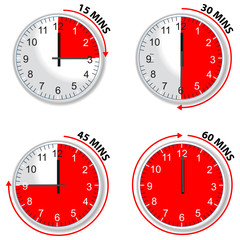 red timer 15 30 45 and 60 minutes