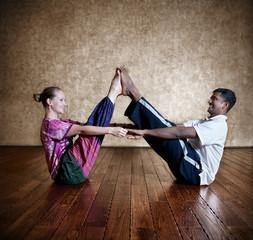 Couple yoga of man and woman