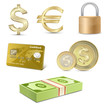 Dollar and Euro signs. Financial symbols.