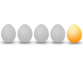 four grey eggs and one golden egg