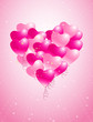 heart made of pink balloons