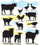 set vector farm animals silhouettes poster