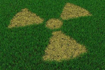 Radiation symbol from thatch on green grass