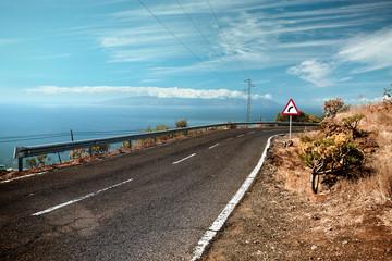 Winding coastal road, Canary Island Tenerife, Spain