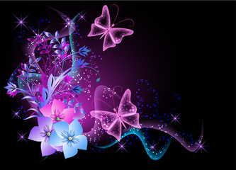 Background with flowers, smoke and butterfly