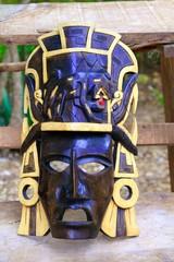 Mayan wood mask with jaguar Yucatan Mexico