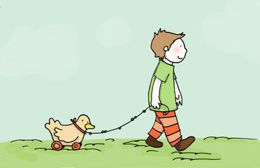 bambino cammina con la sua paperella