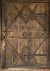Close-up of old wooden doors