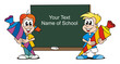 Boy and Girl starting School / Board free Text