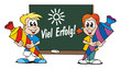 Boy and girl starting School / Board Success