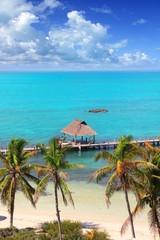 aerial view Contoy tropical caribbean island Mexico