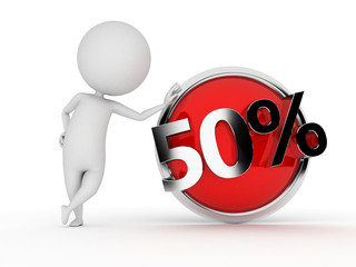 3d rendered illustration of a guy with a discount sign
