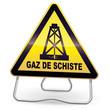 Panneau de danger jaune forage gaz de schiste (trépied)