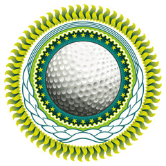 Stylish label with golf ball.