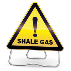 Yellow Shale Gas Warning Sign (tripod)
