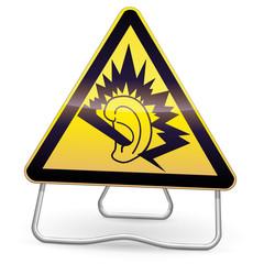 Panneau de danger jaune oreille endommagée (trépied)