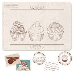 Set of cupcakes on old postcard, with stamps - for design and sc
