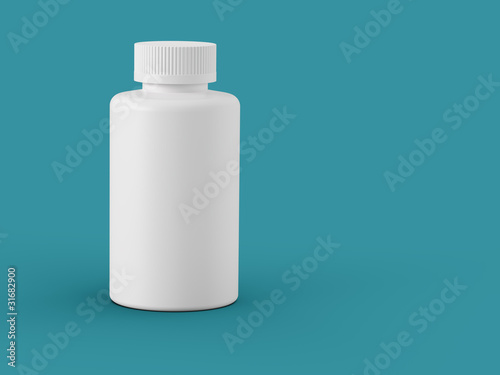 White plastic bottle on sea green
