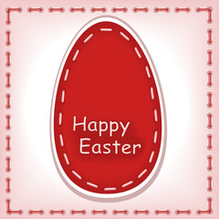 Happy Easter 3. machine stitching. Postcard vector
