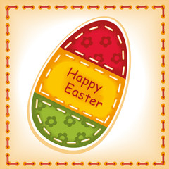 Happy Easter 5. machine stitching. Postcard vector