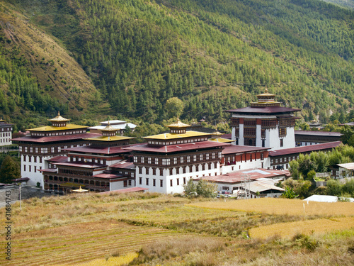 The Tashichhoedzong in the city of Thimpu in Bhutan