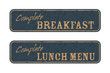 Old retro breakfast and lunch signs, menu offer concept