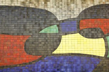 Mosaic Facade of airport, Barcelona, Catalonia. Spain